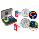 CHICAGO BEARS - NFL 2-COIN SET State Quarter & JFK Half Dollar in Exclusive Football Pigskin Display Box OFFICIALLY LICENSED