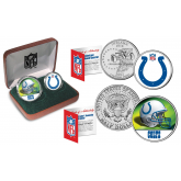 INDIANAPOLIS COLTS - NFL 2-COIN SET State Quarter & JFK Half Dollar in Exclusive Football Pigskin Display Box OFFICIALLY LICENSED