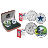 DALLAS COWBOYS - NFL 2-COIN SET State Quarter & JFK Half Dollar in Exclusive Football Pigskin Display Box OFFICIALLY LICENSED