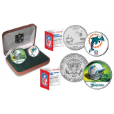 MIAMI DOLPHINS - NFL 2-COIN SET State Quarter & JFK Half Dollar in Exclusive Football Pigskin Display Box OFFICIALLY LICENSED