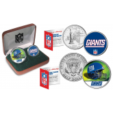 NEW YORK GIANTS - NFL 2-COIN SET State Quarter & JFK Half Dollar in Exclusive Football Pigskin Display Box OFFICIALLY LICENSED