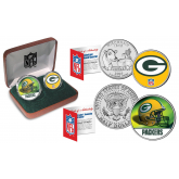 GREEN BAY PACKERS - NFL 2-COIN SET State Quarter & JFK Half Dollar in Exclusive Football Pigskin Display Box OFFICIALLY LICENSED