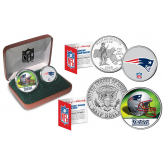 NEW ENGLAND PATRIOTS - NFL 2-COIN SET State Quarter & JFK Half Dollar in Exclusive Football Pigskin Display Box OFFICIALLY LICENSED