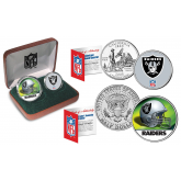 OAKLAND RAIDERS - NFL 2-COIN SET State Quarter & JFK Half Dollar in Exclusive Football Pigskin Display Box OFFICIALLY LICENSED
