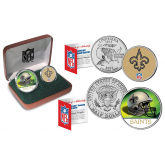 NEW ORLEANS SAINTS - NFL 2-COIN SET State Quarter & JFK Half Dollar in Exclusive Football Pigskin Display Box OFFICIALLY LICENSED