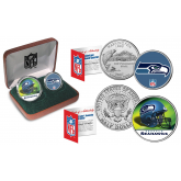 SEATTLE SEAHAWKS - NFL 2-COIN SET State Quarter & JFK Half Dollar in Exclusive Football Pigskin Display Box OFFICIALLY LICENSED