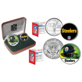 PITTSBURGH STEELERS - NFL 2-COIN SET State Quarter & JFK Half Dollar in Exclusive Football Pigskin Display Box OFFICIALLY LICENSED
