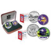 MINNESOTA VIKINGS - NFL 2-COIN SET State Quarter & JFK Half Dollar in Exclusive Football Pigskin Display Box OFFICIALLY LICENSED