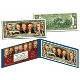 FOUNDING FATHERS OF THE UNITED STATES Colorized Obverse $2 Bill Genuine U.S. Legal Tender