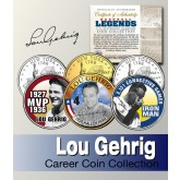 Baseball Legend LOU GEHRIG New York Statehood Quarters US Colorized 3-Coin Set - Officially Licensed