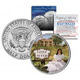 "Gone with the Wind "" Scarlett on Plantation "" JFK Kennedy Half Dollar US Colorized Coin - Officially Licensed"