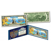 HAPPY HANUKKAH Festival of Lights Official Holiday Colorized Legal Tender U.S. $2 Bill  with Certificate and Folio