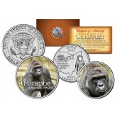 HARAMBE Cincinnati Zoo Gorilla in Memoriam Colorized 2-Coin Set - Ohio State Quarter & 2016 Kennedy Half Dollar