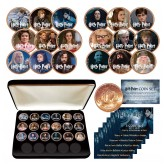 HARRY POTTER Deathly Hallows Colorized UK British Halfpenny ULTIMATE 18-Coin Set - Officially Licensed with Premium Display BOX