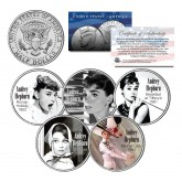 AUDREY HEPBURN - MOVIES - Colorized JFK Kennedy Half Dollar U.S. 5-Coin Set