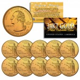 2008 Hawaii State Quarters U.S. Mint BU Coins 24K GOLD PLATED (Quantity 10)