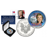 HILLARY CLINTON For President 2016 1 oz PURE SILVER AMERICAN U.S. EAGLE in Deluxe Black Felt Coin Display Gift Box