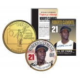 ROBERTO CLEMENTE - Hall of Fame - Legends Colorized Pennsylvania State Quarter 24K Gold Plated Coin