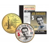 JOE DiMAGGIO - Hall of Fame - Legends Colorized New York State Quarter 24K Gold Plated Coin