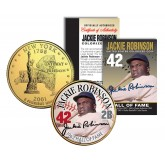 JACKIE ROBINSON - Hall of Fame - Legends Colorized New York State Quarter 24K Gold Plated Coin