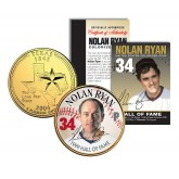 NOLAN RYAN - Hall of Fame - Legends Colorized Texas State Quarter 24K Gold Plated Coin