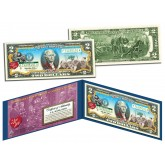I LOVE LUCY Christmas XMAS Genuine Legal Tender U.S. Colorized $2 Bill - Officially Licensed