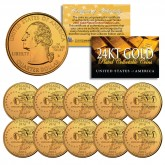 2002 Indiana State Quarters U.S. Mint BU Coins 24K GOLD PLATED (Quantity 10)