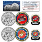 MARINES & USMC INTELLIGENCE Branch JFK Half Dollar Armed Forces Military 2-Coin U.S. Set