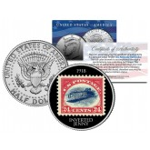 INVERTED JENNY 1918 STAMP - Colorized JFK Kennedy Half Dollar U.S. Coin - Upside Down Airplane Error