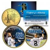 DEREK JETER Yankee Stadium Farewell New York State Quarters US 2-Coin Set 24K Gold Plated