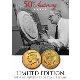 24K Gold Plated - 50th Anniversary - 50 YEAR LOGO - 2014 JFK Kennedy Half Dollar US Coin (P)