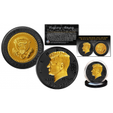 President JOHN F. KENNEDY 100th Birthday Celebration 1917-2017 BLACK RUTHENIUM & 24K GOLD Clad OFFICIAL Tribute Coin