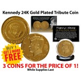 President JOHN F. KENNEDY 100th Birthday Celebration 1917-2017 Official 24K Gold Clad Tribute Coin - BUY 1 GET 2 FREE