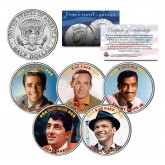THE RAT PACK - Colorized JFK Kennedy Half Dollar U.S. 5-Coin Set - Sinatra - Dean Martin - Sammy Davis Jr - Bishop - Lawford