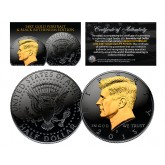 Black RUTHENIUM Clad 2015 Kennedy Half Dollar U.S. Coin with 24K Gold Clad JFK Portrait - P Mint