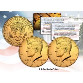 24K GOLD PLATED 2015 JFK Kennedy Half Dollar US 2-Coin Set - P&D MINT - with Capsules