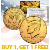 24K GOLD PLATED 2013 JFK Kennedy Half Dollar Coin w/Capsule - BUY 1 GET 1 FREE - bogo
