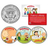 PEANUTS VALENTINES - Snoopy - Lucy - Peppermint Patty - Charlie Brown - JFK Half Dollar US 3-Coin Set - Officially Licensed