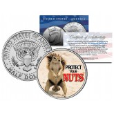 SQUIRREL POKER COIN Guard Card Cover PROTECT NUTS - Colorized JFK Half Dollar U.S. Coin