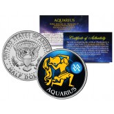 AQUARIUS - Horoscope Astrology Zodiac - JFK Kennedy Half Dollar US Colorized Coin