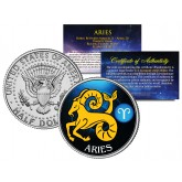 ARIES - Horoscope Astrology Zodiac - JFK Kennedy Half Dollar US Colorized Coin