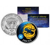 PISCES - Horoscope Astrology Zodiac - JFK Kennedy Half Dollar US Colorized Coin