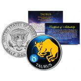 TAURUS - Horoscope Astrology Zodiac - JFK Kennedy Half Dollar US Colorized Coin