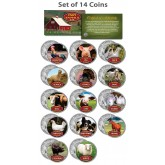 Collectible FARM ANIMALS Colorized JFK Kennedy Half Dollar U.S. 14-Coin Full Set