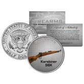 KARIBINER 98K Gun Firearm JFK Kennedy Half Dollar US Colorized Coin Kurz Rifle