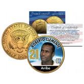 ROBERTO CLEMENTE Baseball Legends JFK Kennedy Half Dollar 24K Gold Plated US Coin