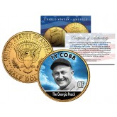 TY COBB Baseball Legends JFK Kennedy Half Dollar 24K Gold Plated US Coin
