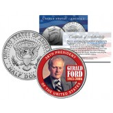 GERALD FORD - 38th President - 1913-2006 JFK Kennedy Half Dollar Colorized US Coin