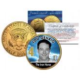 LOU GEHRIG Baseball Legends JFK Kennedy Half Dollar 24K Gold Plated US Coin