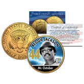 REGGIE JACKSON Baseball Legends JFK Kennedy Half Dollar 24K Gold Plated US Coin